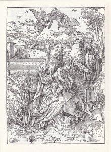 "Albrecht Dürer ""Heilige Familie mit Kaninchen"", Holzschnitt 1496/97"