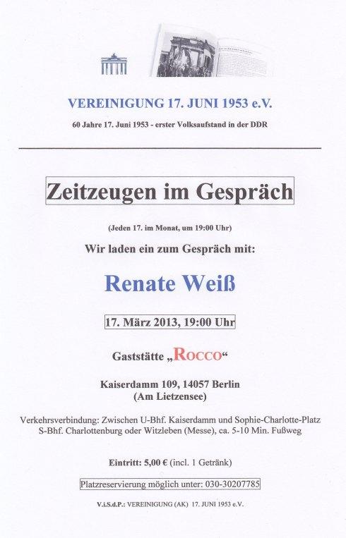 Renate Weiss (85) erlebte den Aufstand in Berlin-Pankow