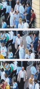 Aus einem Film der Stasi vom 13.08.1989: Die Frau im  weißen Kleid (Bildmitte) und ein bislang unbekannter Begleiter
