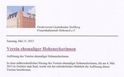 Absprache? Für einen  Förderverein der Frauen von Hoheneck zumindest befremdlich...