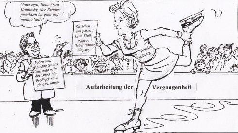 """Pirouetten um Skandale: """"Uns kann Keener!"""" Nach einer Karikatur von Hanitzsch, 2000 Collage: LyrAg 2013"""