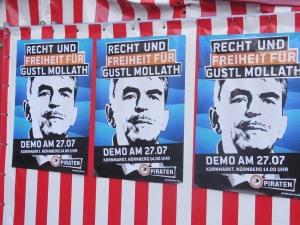 In der Innenstadt Nürnbergs präsent: Freiheit für Gustl Mollath. Foto: LyrAg