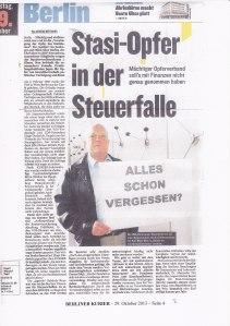 Die Medien berichteten über die Krise, hier der BERLINER KURIER, 29.10.2013