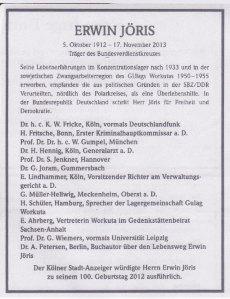 Abschied - Kölner Stadtanzeiger vom 23./24.11.2013