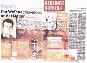Der BERLINER KURIER erinnerte auf zwei Seiten an das Geschehen vor 50 Jahren - Siehe auch B.Z. vom 27.12.2013
