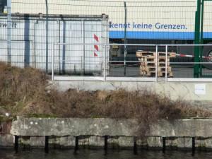"""Hinter der Stele am anderen Ufer: """"Keine Grenzen mehr"""" - Foto. LyrAg"""