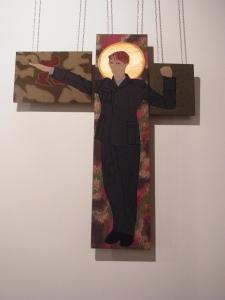 Das Bildnis mit dem umstrittenen Text ist zur Zeit im Cafe Sibylle in der Karl-Marx-Allee ausgestellt -                  Foto: LyrAg - Foto: LyrAg