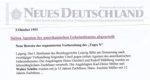 """Am späteren """"Tag der Deutsche Einheit"""", 3.10.1953, Bericht über Urteil gegen Schöbe u.a."""