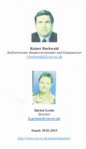 Laut veröffentl. Protokoll 73% der Stimmen: Rainer Buchwald kandidierte als Stellverteter und Schatzmeister - Foto: VOS-Seite 30.01.2015