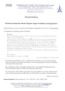 Die  VOS bedauert den Rücktritt, hat aber Verständnis... Hugo Diederich, Ansprechpartner