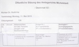 Terminaushang AG Michelstadt (Ausschnitt)