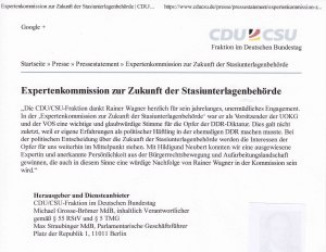 Mitteilung der CDU/CSU-Bundestagsfraktion (Ausschnitt)