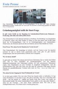 """Die Freie Presse in Stollberg über den Aufruhr im Förderverein: """"Gründungsmitglied stellt die Stasifrage"""" (Interview mit Theo Schreckenbach / Ausschnitt)."""