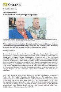 """RP-ONLINE-Bericht vom 7.Mai 2015: """"Feilschen um ein würdiges Begräbnis"""" (Ausschnitt)"""