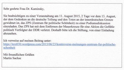 25. Juli 2015: Offener Brief an Frau Dr. Anna Kaminsky (Bundesstiftung zur Aufarbeitung der SED-Diktatur)