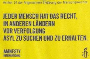 Amnesty-Plakatierung (gesichtet in Norddeutschland) - Foto: Redaktion