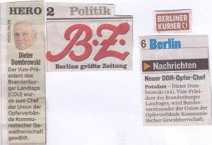 Auch in der Berliner Presse fand die UOKG-Wahl Beachtung...