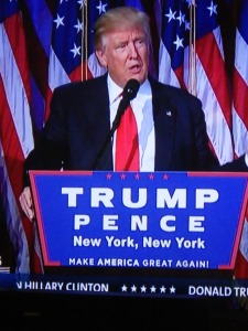 Der jetzt führende Populist Donald Trump nach der Wahl in den USA