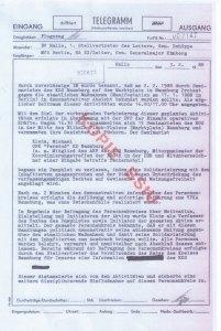 MfS-Telegramm aus Halle an die Stasi-Zentrale - Archiv: M.Kleim