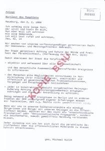 Als Pamphlet diffamiert: Aufruf zum Widerstand - Archiv: M.Kleim