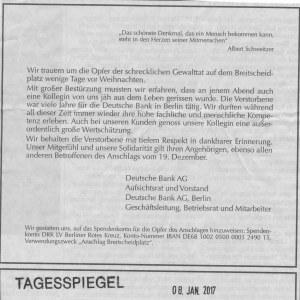 """Traueranzeige der Deutschen Bank um """"eine Kollegin"""" ..."""